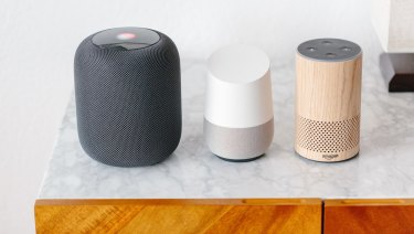 From left, the Apple HomePod, Google Home and Amazon's Alexa