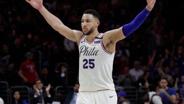 Job done: Ben Simmons and the 76ers are through to the conference semis.