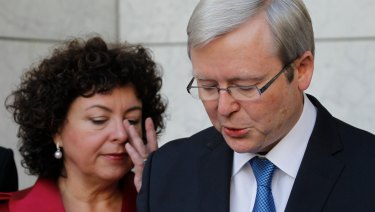 Therese Rein supports Kevin Rudd as he addresses the media on the day he was deposed as prime minister in 2010.