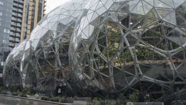 The Spheres at Amazon's newly opened headquarters in Seattle, featuring more than 40,000 plants and spaces for its workers to meet and think.