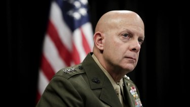 Lieutenant General David Berger, Commander, US Marine Corps Forces, Pacific, during a media briefing at the US embassy in Canberra on Friday 8 June 2018.