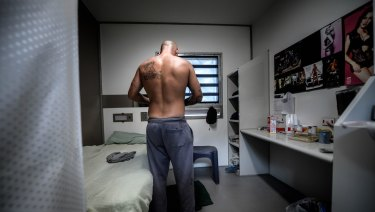 A prisoner inside the maximum security Melbourne Remand Centre.