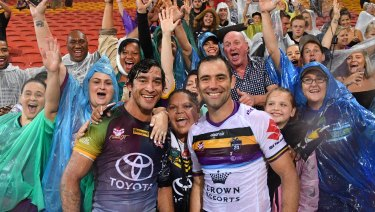 Record-makers: Johnathan Thurston and Cameron Smith after a testimonial match between the Storm and the Cowboys.