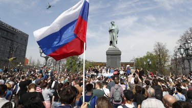 Protesters gathered in Moscow's Pushkin Square to demonstrate against Putin's fourth inauguration.