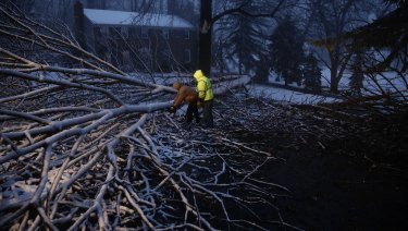 Council workers clear a fallen tree during a winter storm in Marple, Pennsylvania on Saturday.