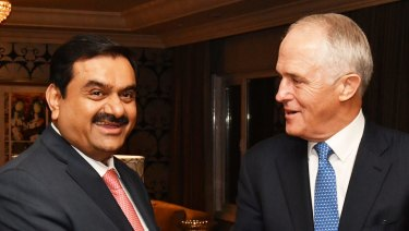 Indian mining billionaire Guatam Adani with Prime Minister Malcolm Turnbull.