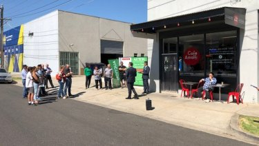 The warehouse and cafe at 5-7 Victory Road in Airport West sold after a tight bidding at auction for $972,000.