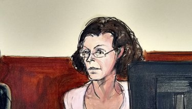 Claire Bronfman in a courtroom drawing.