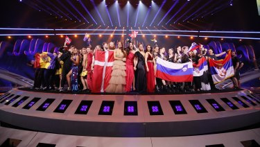 The semi-finalists, including Australia, advancing to the grand final of the Eurovision Song Contest.