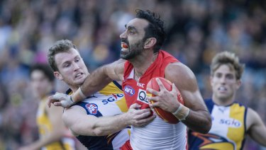 Sydney Swans player Adam Goodes endured relentless booing from West Coast Eagles fans in Perth during 2015.