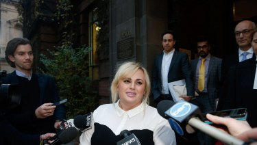 Rebel Wilson leaving the Supreme Court in Melbourne last year.