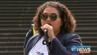 Tarneen Onus-Williams speaks at the 'invasion day' rally