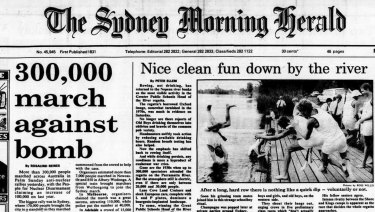 On April 1, 1985, the Sydney Morning Herald reported Kim Beazley's claim the day before that the government knew everything that happened at the US Pine Gap spy base near Alice Springs. It also carried a report on a huge 'ban the bomb' march.