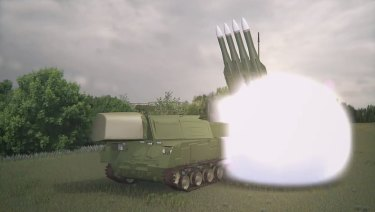A screenshot of a computerised video obtained from the Joint Investigation Team of the launch of a 9M38 BUK missile that shot down Malaysia Airlines Flight 17 (MH17) over Ukraine on July 17, 2014.