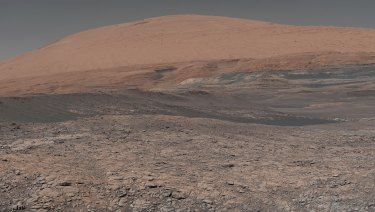 A lake-like area in front of Mount Sharp, Mars, has clay-bearing rocks that scientists are eager to explore.
