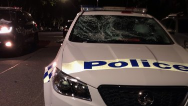 One of the four police cars damaged by partygoers.