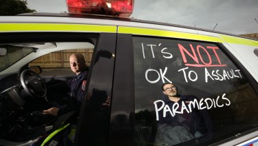 Victorian paramedics have been protesting since two women escaped a jail term for bashing their colleague after an appeal.