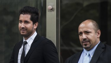 Gold dealer Alejandro Mendieta Blanco (left) outside the County Court in April.