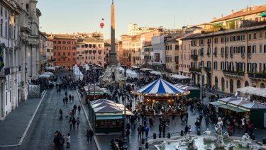The Christmas market in Rome's Piazza Navona is a shadow of what it once was.