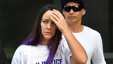 Cindy Palmer (left), the mother of murdered schoolgirl Tiahleigh Palmer, is seen arriving at the Supreme Court in Brisbane on Friday.