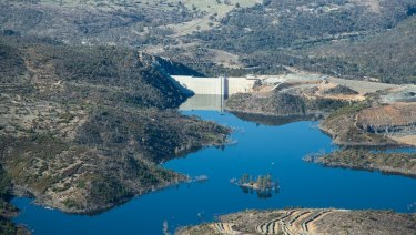 Cotter Dam in 2013. The ACT's water security has improved in part due to the Cotter Dam expansion, Icon Water says.