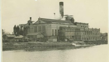 An historic photograph of the East Perth power station site.