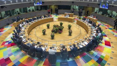 A general view of the round table meeting at an EU summit in Brussels.