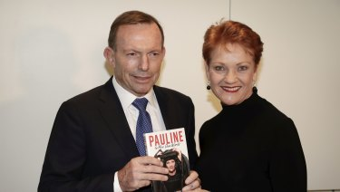 "Tony Abbott warned of ""Putin's death squads"" stalking England as he launched Pauline Hanson's book on Tuesday"