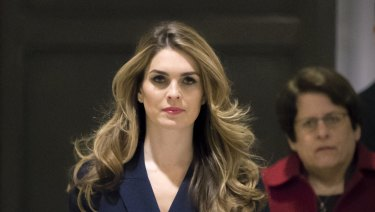 Hope Hicks, one of President Trump's closest aides and advisers, arrives to meet behind closed doors with the House Intelligence Committee, at the Capitol in Washington on Tuesday.