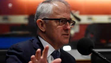 Malcolm Turnbull in the 3AW studios Tuesday morning.