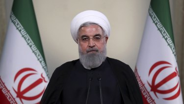 President Hassan Rouhani addresses the nation in a televised speech in Tehran, Iran.