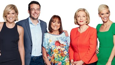 And then there were five: Studio 10's team until March (l-r): Sarah Harris, Joe Hildebrand, Denise Drysdale, Ita Buttrose and Jessica Rowe.