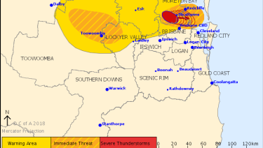 The Bureau of Meteorology issued a storm warning at 5.26pm.