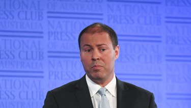 Energy Minister Josh Frydenberg delivers his address to the National Press Club on Wednesday.