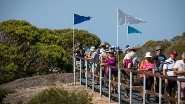 Crowds flocked to the new walking track.