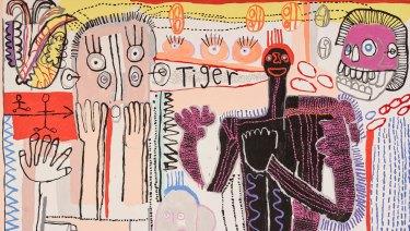Archibald Prize 2018 finalist Tiger Yaltangki with 'Tiger (self-portrait)'.
