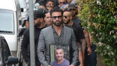 Mourners at the funeral of ex-bikie boss Mahmoud 'Mick' Hawi on Thursday.