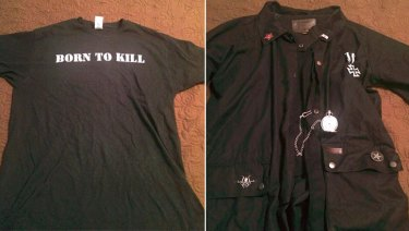 Images on a Facebook profile belonging to Dimitrios Pagourtzis showed a t-shirt and a trench coat.