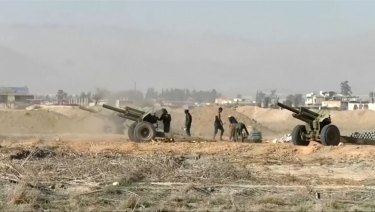 Syrian ground troops aim at Eastern Ghouta on Monday.