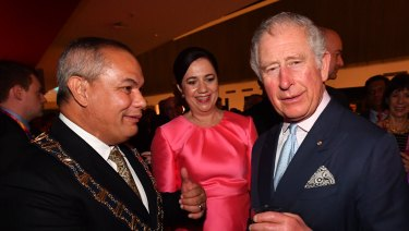 Tom Tate with Queensland Premier Annastacia Palaszczuk and Prince Charles at a welcome to the Games reception ahead of the opening ceremony.