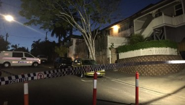 A crime scene has been established at the Woolloongabba home where a man was shot in the leg.