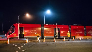 A light rail vehicle being tested in Mitchell: Canberra Metro says stage one will be completed in December.