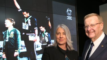 John Coates and Janita Norman at a ceremony for Olympian Peter Norman, who received a posthumous AOC honour.