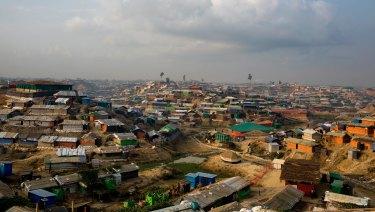 The Kutupalong Rohingya refugee camp in Kutupalong, Bangladesh.