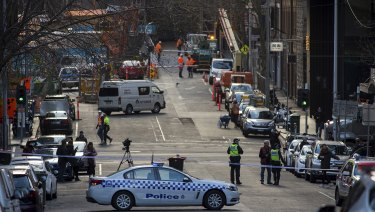 Police blocked off A'Beckett Street after the teenager's body was found. It was reopened around 10.30am.