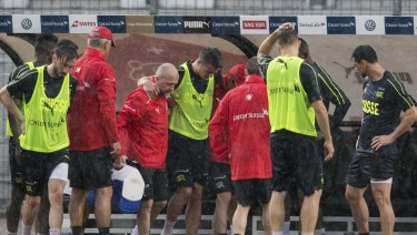 Relief: Granit Xhaka limps off at training.