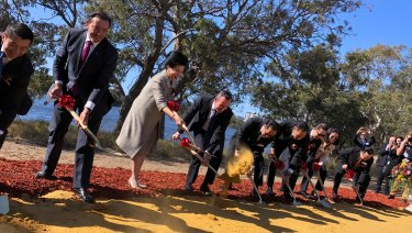 Premier Mark McGowan turning the sod on Golden Group's $3.8 billion Belmont Park development, with Indonesian property mogul Mimi Wong.