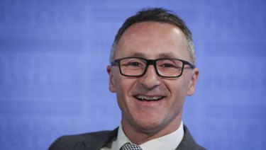 Richard di Natale addressing the National Press Club yesterday.