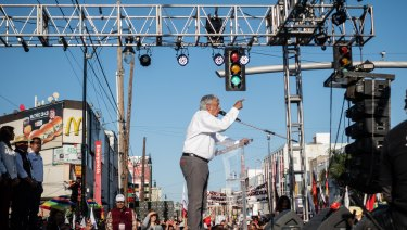 Andres Manuel Lopez Obrador, presidential candidate of the National Regeneration Movement Party at a rally in Tijuana, Mexico, on Sunday.