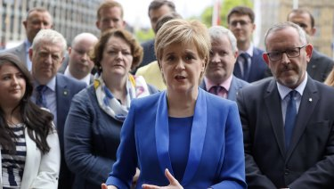 Nicola Sturgeon, First Minister of Scotland and the leader of the Scottish National Party, centre.